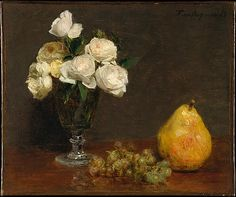 Still Life with Roses and Fruit - 1863.   Henri Fantin-Latour