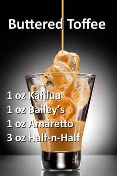 Irish cream liqueur pouring into a glass full of ice. Liquor Drinks, Non Alcoholic Drinks, Cocktail Drinks, Amaretto Drinks, Beverages, Baileys Drinks, Bourbon Drinks, Coconut Rum Drinks, Brunch Drinks