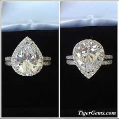 ✨ Up or down? ✨ The 3.5 carat pear cut halo ring is available in sizes 5-8 at  TigerGems.com  This set also comes in 1.5 and 2.5 ct