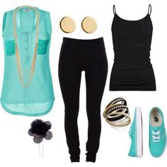 Teal, black, and gold