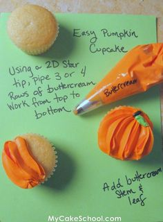 Easy pumpkin cupcakes from Ghoulish Goodies from My Cake School. How to frost cupcakes so icing looks like pumpkins. Link also shows how to make Webbed Cupcakes, Skeleton Cupcakes, Royal Icing Witch, Gum Drop Spider, Candy Corn Monster. Halloween Cupcakes, Fete Halloween, Halloween Treats, Halloween Pumpkins, Halloween Foods, Happy Halloween, Pumpkin Cupcakes, Cupcake Cookies, Frost Cupcakes