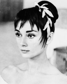 Audrey Hepburn's hair test for the role of Natasha Rostova in War and Peace,1955 .