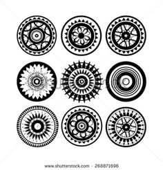 Collection of polynesian tattoo design isolated on white background