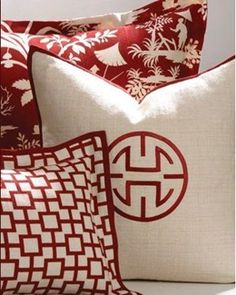Custom-made red and white Asian-inspired decorative pillows from the Crystal Lake bedding collection by Legacy Home. Combo works because of scale diffs Asian Inspired Decor, Asian Home Decor, Linen Pillows, Decorative Pillows, Cushions, White Pillows, Accent Pillows, Red Throw Pillows, Yen Yang