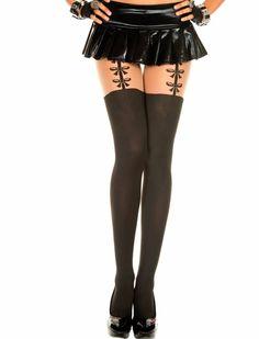 Zwarte panty met strikjes