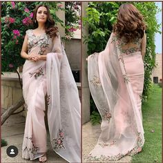Dia Mirza looks so pretty in Anamika Khanna saree and Silver Streak Jewellery. Styled by Theia Tekchandaney! Indian Wedding Outfits, Indian Outfits, Modern Saree, Indian Look, Bollywood Saree, Bollywood Fashion, Designer Blouse Patterns, Stylish Sarees, Saree Look