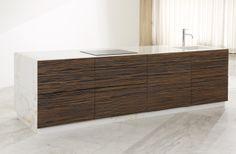 TCC Whitestone . Kitchen COLLECTION . ISLAND + . kitchen island in estremoz marble and ebony veneered drawer fronts