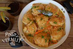 Jugosos contramuslos de pollo con una deliciosa salsa elaborada con vermut - Receta Plato : Pollo al vermut por Sacaelcucharon