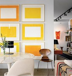 Minimalist yellow wall art prints. Great if you are after a geometric look to your space.