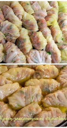 Λαχανοντολμάδες με κιμά στο φούρνο (με κρέμα αυγολέμονο) - cretangastronomy.gr