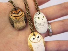 Little Owl Necklace Earthenware ceramic owl totem by HandyMaiden, $30.00