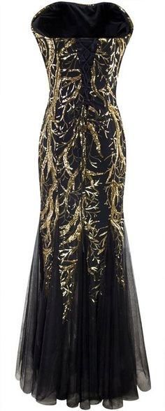 Angel-fashions Women's Unique Strapless Paillette Tree Branch Net Mermaid Gown Dress Small at Amazon Women's Clothing store: