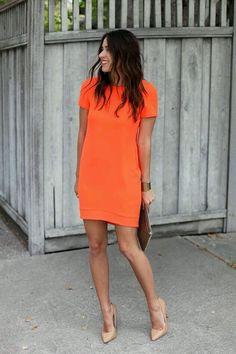 Pretty orange dress.