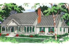 Country Style House Plan - 3 Beds 2.50 Baths 2117 Sq/Ft Plan #406-152 Exterior - Front Elevation - Houseplans.com