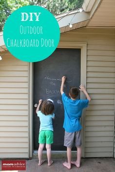 What could be better than a fun summertime outdoor project? Here is an easy DIY Outdoor Chalkboard Door that I created to entertain my kids in the summer months. This DIY chalkboard project that we created is one of my new favorite things in our backyard. Outdoor Doors, Outdoor Sheds, Outdoor Play, Outdoor Living, Outdoor Stuff, Outdoor Spaces, Chalkboard Paint Crafts, Diy Chalkboard, Outdoor Chalkboard