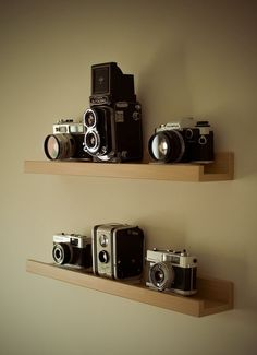 Ikea's Ribba ledge as vintage camera shelf