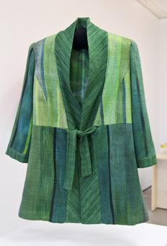 Spring tunic. Hand dyed and handwoven bamboo fibre.  Hand dyed silk lining.  made by me.