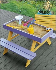 Want to give the kids a sandbox picnic table on the deck? DIY picnic table and sandbox combo!