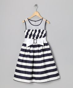 Take a look at this Navy & White Stripe Belt Dress - Girls by Gerson & Gerson on #zulily today!
