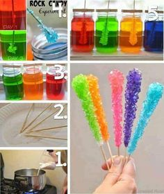 this looks so much fun to make with the kids! Recipe:<br> Making rock candy is really easy and lots of fun for kids. This activity is a beautiful science experiment and a yummy treat all in one. My kids LOVED… Rock Candy Experiment, Candy Experiments, Science Experiments Kids, Science Education, Science Projects For Kids, Fun Crafts For Kids, Science For Kids, Fair Projects, Kids Diy