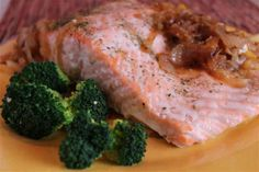 Succulent Salmon with Caramelized Onions-- This easy, elegant dish can be served for a dinner party or a special family meal.