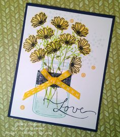 Daisy Delight Stampin' Up!, Jar of Love, Up North Stampin', Mary Hanson Daisy Delight Stampin' Up, Fun Cards, Gerber Daisies, Flower Cards, Scrapbook Pages, Envelopes, Stampin Up, Card Ideas, Stamps