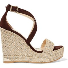 Jimmy Choo Jimmy Choo - Portia Suede Wedge Sandals - Brown (€450) ❤ liked on Polyvore featuring shoes and sandals