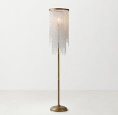 Athena Crystal Floor Lamp - Antiqued Brass $600