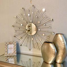Two 30 inch Glamorous Silver Sunburst Mirrors by SunburstDecorArt