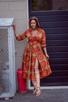 Rahyma Hoodie Wrap Dress African Print