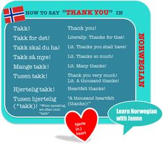 """How to express your gratitude with different forms of """"thank you"""" and """"thank you very much"""" in Norwegian. Teaching French, Teaching Spanish, Spanish Activities, Learning Languages Tips, Foreign Languages, French Lessons, Spanish Lessons, Norway Language, Norwegian Words"""