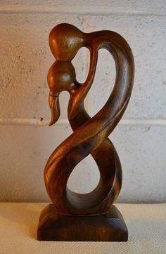 Romantic Kissing Couple Abstract Wood Sculpture