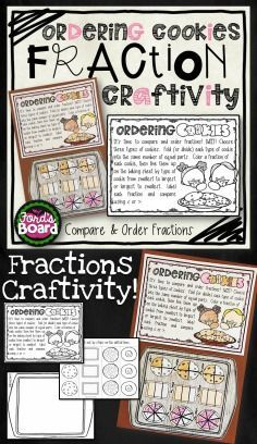 This fraction craftivity is a fun, engaging way for students to practice comparing and ordering fractions! This center is a real world problem solving experience for students which also encourages critical thinking. Ordering Fractions, Math Fractions, Math Activities, Math Resources, Classroom Resources, Classroom Ideas, Math Projects, Educational Crafts, Third Grade Math