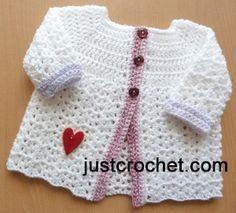 Free baby crochet pattern baby cardigan usa, #haken, gratis patroon (Engels), baby, vestje, kraamcadeau, #haakpatroon