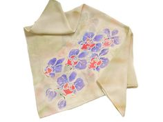 Orchid scarf-Fall flower silk scarf-Floral hand painted scarf wrap,batik shawl Autumn Beach scarf Womens gift Grandma gift Girlfriend gift