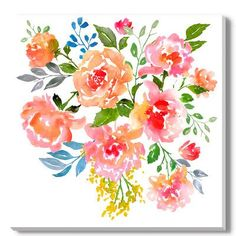 "Gallery Direct 'Watercolor Roses' by Inna Ogando Painting Print on Wrapped Canvas Size: 40"" H x 40"" W x 2"" D"