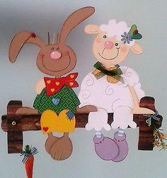 Fensterbild Hase und Schaf- Frühling - Ostern-Küche-Dekoration - Tonkarton!