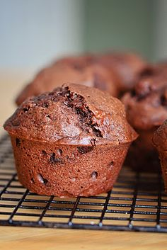 Barefoot and Baking- chocolate banana muffins made with Greek yogurt ! Moist and delicious !