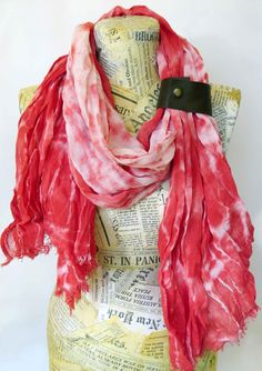 Cotton Gauze Scarf with Leather Cuff Red White Hand by SilkRevolt
