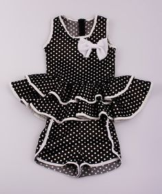 Look what I found on #zulily! Black Polka Dot Peplum Top & Shorts - Toddler & Girls #zulilyfinds