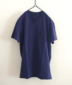 BLACK&BLUE VネックポケットTシャツ x Filmelange(NAVY) http://floraison.shop-pro.jp/?pid=75706245