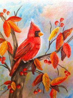 Original Bird Painting Contemporary Cardinal On Wrapped Canvas Acrylic