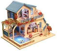 Amazon.com: Rylai 3D Puzzles Wooden Handmade Miniature Dollhouse DIY Kit w/ Light - Blue And White Town Series Dollhouses accessories Dolls Houses With Furniture & LED & Music Box Best Birthday Gift: Toys & Games