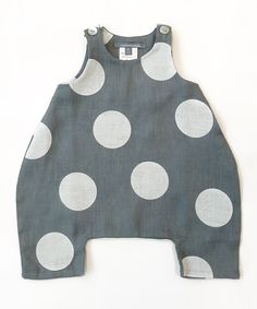 minimù Gray & White Polka Dot Banny Romper - Infant