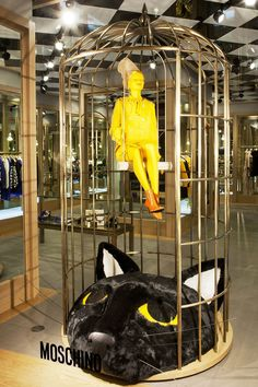 "Moschino boutique in Milan, Via Sant'Andrea 12 – September 2012 window display – Theme: ""Tweety"" -"
