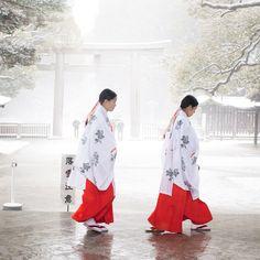 shinto priestess of Meiji Jingu Shrine Japanese Kimono, Japanese Girl, Winter In Japan, All About Japan, Religion, Art Asiatique, Photos Voyages, Japanese Outfits, Japanese Clothing