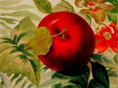 One Big Apple, Still Life Fruit Painting by Marina Petro, painting by artist Marina Petro