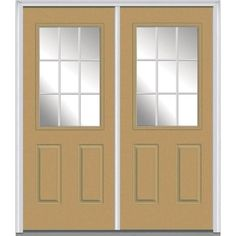 Milliken Millwork 62 in. x 81.75 in. Classic Clear Glass GBG 1/2 Lite 2 Panel Painted Fiberglass Smooth Exterior Double Door, Sandal
