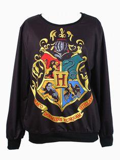 Hogwarts School Crest Print Sweatshirt - Choies.com