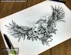 Diseño de Andrewflaks Calaveras, Alas, Rosas En ZonaTattoos, tu web de tatuajes
